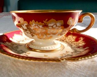 SALE Rosenthal Demitasse Teacup and Saucer-Rosenthal Germany Teacup Set-Rosenthal Gold and Maroon Floral Tea Cup and Saucer- Rosenthal Ivory