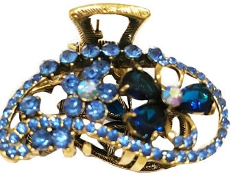 New Antique Gold With Sapphire  Crystal & Royal Blue  Floral Design Rhinestone  2 '' Hair Clip