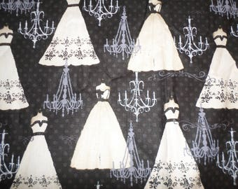 """Black and White """"French Couture"""" Dresses by David Textiles 1 Yard 5 Inches by 44"""" Wide"""