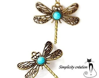turquoise and bronze metal Dragonfly pendant