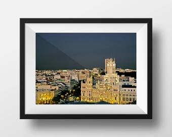 Night View of Downtown Madrid Spain | Spanish Architecture | Fine Art Photo | Image File (Digital Download)