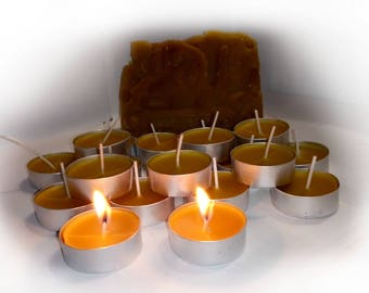 Tealight Candles - Beeswax Tealights Candles - Natural Candles - Puryfing Candles - Unscented - Organic Standards Beeswax from Ukraine