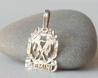 Sterling Silver Gemini Zodiac Pendant, Gemini Horoscope Charm, Astrological Gemini, The Gemini Zodiac Sign,  Silver Constellation Sign Charm