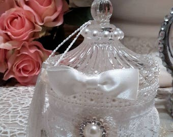 romantic spirit and shabby chic glass bonbonnière