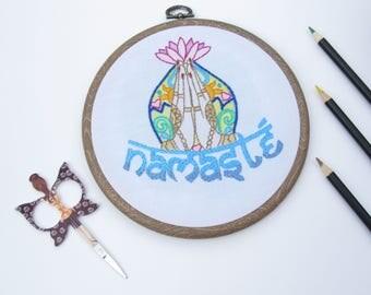 "Namaste Embroidery Hoop Wall Art Home Decor gift 6"" EMH011"