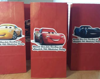 12 Cars Movie theme birthday party favor bags / treat bags / paper bags /personalized / lightning McQueen