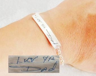 Real Handwriting Bar Bracelet,Handwritten Engraved Bracelet,Signature Bracelet,Real Handwritten Bracelet,Memorial Bracelet,Mother Gift