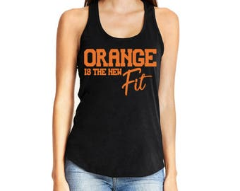 orange is the new fit fitness theory tank top black navy theory