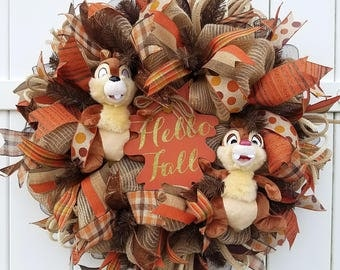 Fall Chip and Dale Wreath, Hello Fall Wreath, Fall Wreath, Autumn Wreath, Chip and Dale Wreath, Fall Decor, Autumn Decor, Disney Fall Wreath