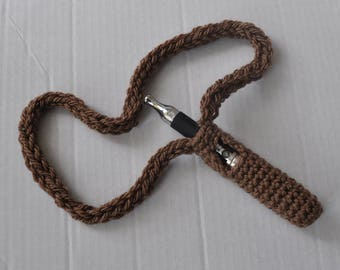 Handmade Crochet e Cig Holder Necklace Cord Pouch Bag - Taupe (Brown)