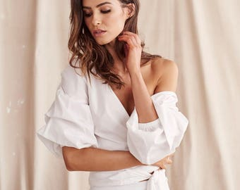 Emma Wrap Top with Ruffle Sleeves - WHITE - 100% Cotton Shirt, Ruffled Shirt, Puff Sleeves trending clothes Minimalistic