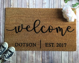 Personalized doormat- Personalized welcome mat-Custom door mat-Welcome door mat-Door mat-personalized wedding gift-housewarming gift