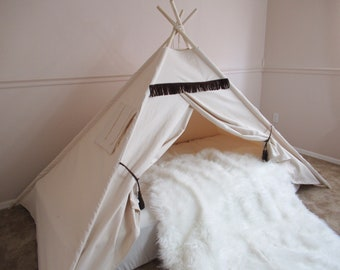 Original wild bed teepee, tent bed canopy, teepee canopy for bed, kids Teepee, tipi, Play tent,with canvas and Overlapping front doors