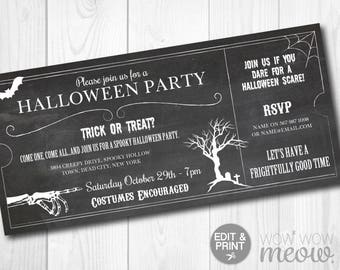 Halloween Invitations Gothic Party Invites Printable Ticket INSTANT DOWNLOAD Edit Spooktacular Skull Dead Personalised Chalk Editable Print
