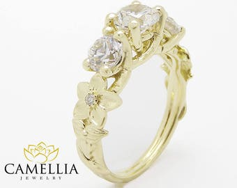 Three Stone Moissanite Engagement Ring 14K Yellow Gold Moissanite Ring Flower Engagement Ring