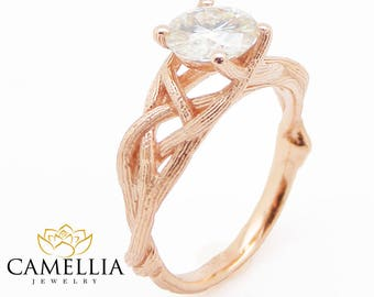 Diamond Twig Engagement Ring 14K Rose Gold Branch Ring Choose Your Diamond Engagement Ring