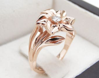Flower Diamond Rose Gold Engagement Ring Wedding and Flower Diamond Ring Unique 14K Rose Gold Engagement Ring