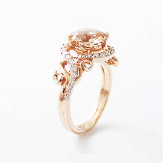 14K Rose Gold Engagement Ring Rose Gold Morganite Ring Peach