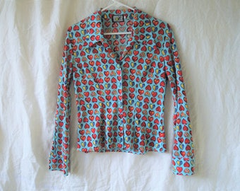 90s Rainbow Heart Print Button Down Shirt