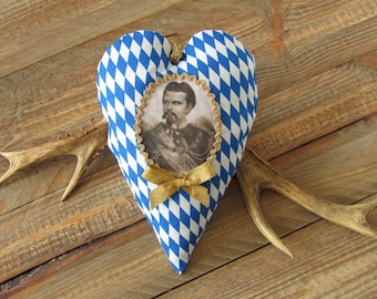 Bavarian diamonds blue white, portrait of King Ludwig II, Oktoberfest heart hanger, autumn decoration, Bavarian heart hanger, country style