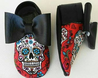Red sugar skull shoes