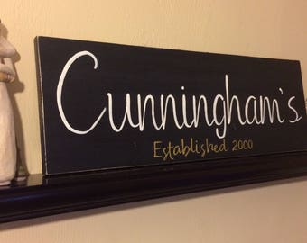 Personalized Last Name/Established Sign