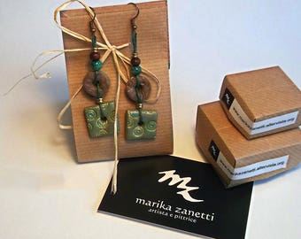 Orecchini Etnici pendenti Verdi con collana handmade limited edition fatti a mano regali personalizzati per lei moda donna eleganti fashion