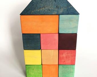 Colorful Wood Block Set (Maple), Waldorf Toys, Rainbow Building Blocks, Hand Made Wood Blocks