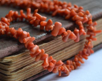 Vintage Branch Coral Necklace, Vintage Coral Jewelry, Natural Antique coral beads, Salmon Coral Bead Necklace, Mediterranean Coral Jewelry