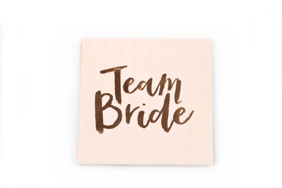 10pc Team Bride Napkin, Luncheon Foiled Rose Gold Script, Light Pink Bachelorette Napkin, Rose Gold Bachelorette Bridal Shower Napkin, Blush