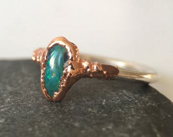 Solid Opal Stacking Ring, Opal Ring, copper, silver opal ring, Australian Opal ring, ring size H 1/2, US ring size 4