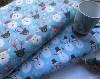 SALE: Santas, Snowmen, and Reindeer Cotton Fabric by Half-Yd