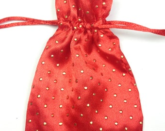 Red Satin Bags, Jewelry Bags, Craft Bags, Tied Bags, Craft supplies, Gift Bag Wedding Favor Bags Baptism Favor Bag 3x4
