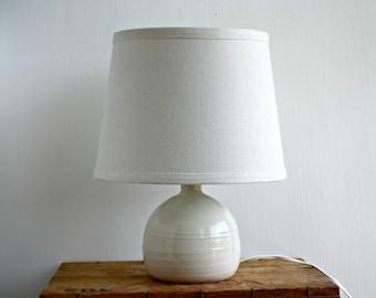 Vintage Studio Pottery Lamp, Short Fat Pottery Lamp, Accent Lamp, Desk