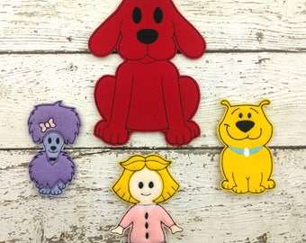 Big Red Dog and Friends Felt Finger Puppet Set - Pretend Play - Party Favors - Birthday