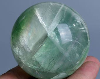 Natural Green Fluorite Quartz Crystal Sphere Ball Healing, Crystals and Minerals , Wiccan Pagan Crystal J434