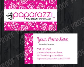 Paparazzi Accessories - Independent Consultant - Double Sided Business Cards - Pink/Diamonds - PRINTED