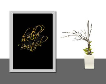 Hello beautiful Sign, hello beautiful print, hello beautiful wall art, hello beautiful poster, printable wall art, hello beautiful, hello