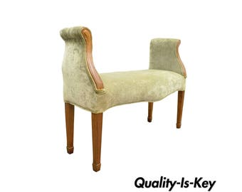 Vintage Federal Hollywood Regency Style Cherry Upholstered Window End of Bed Bench