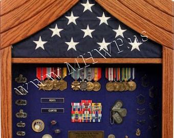 Air Force  Chief Master Sergeant (E9) Shadow Box - 5x8 Flag