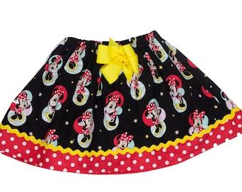 Girl skirt School skirt Minnie skirt,  Girl Skirt,  Girl birthday skirt ,Minnie Mouse  skirt, baby Skirt , Toddle  skirt, Skirts