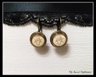 Uroboro earrings, Oroborus, Uroboros, Oroboro bronze base photographic cammeo pendant 14mm