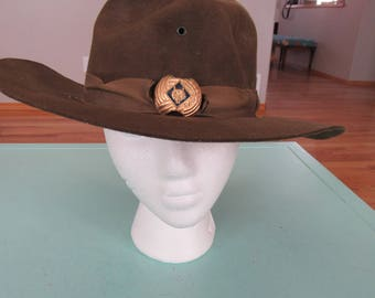 Vintage Broner Wide Brim Boy Scout Cub Scout Hat Sz Medium Free Shipping