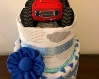 Blaze monster truck nappy cake