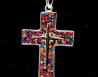 Christian Cross Pendant With Colored Gemstones 1#