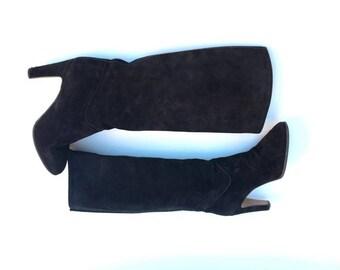 90's Black  Suede Boots / Vintage Black 90s Boots / Leather Black Boots /  Black suede Boots / Boots EU 38 / USA 7 / UK 5