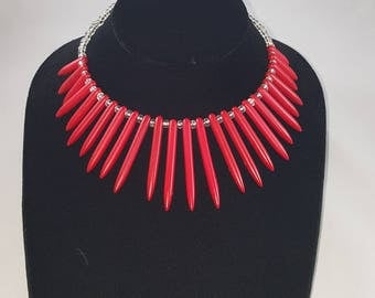 Red Howlite Beaded Necklace