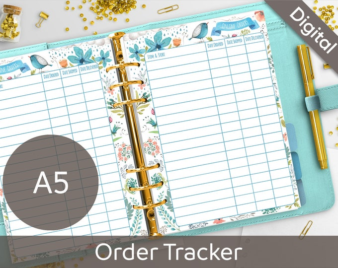 A5 Order Tracker Printable, Filofax A5 printable refills, Online Orders printable insert, Arinne Blue Bird DIY Planner PDF Instant Download