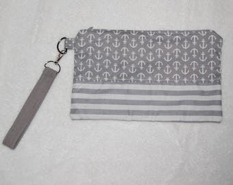 Gray and White Anchors and Stripes wristlet