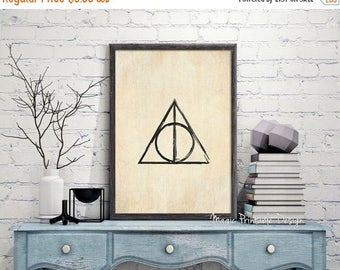 80% OFF SALE Harry Potter Deathly Hallows print - Deathly Hallows poster, Deathly Hallows Symbol wall Art, Harry Potter Fan Art Printable ol